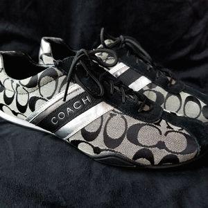 Coach Jayme black silver metallic track sneakers